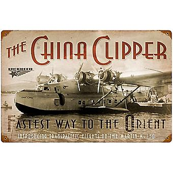 Lockheed China Clipper rusted metal sign   (pst 1812)