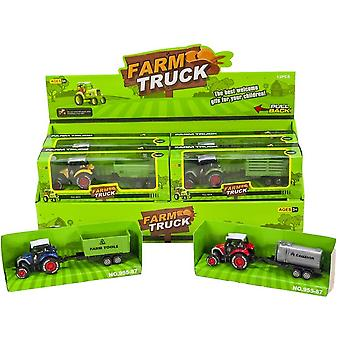 Tractor with trailer Die-Cast 17 cm Pullback
