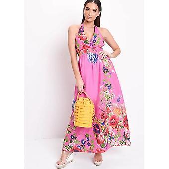 Floral Halterneck Maxi Dress Hot Pink