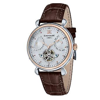 Thomas Earnshaw Es-8046-04 Grand Calendar Two Tone & Brown Textured Leather Automatic Men's Watch
