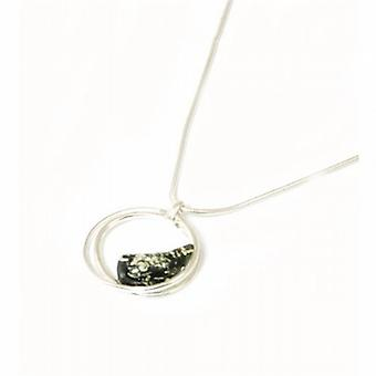The Olivia Collection Sterling Silver Modern Circle Green Amber Pendant