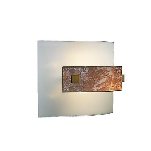 David Hunt MG84 Savoy Wall Light In Antique Brass With Light Marble Glass