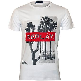 Replay Tropical Logo Crew-Neck T-Shirt, White