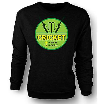 Mens Sweatshirt Cricket I Love It - Funny