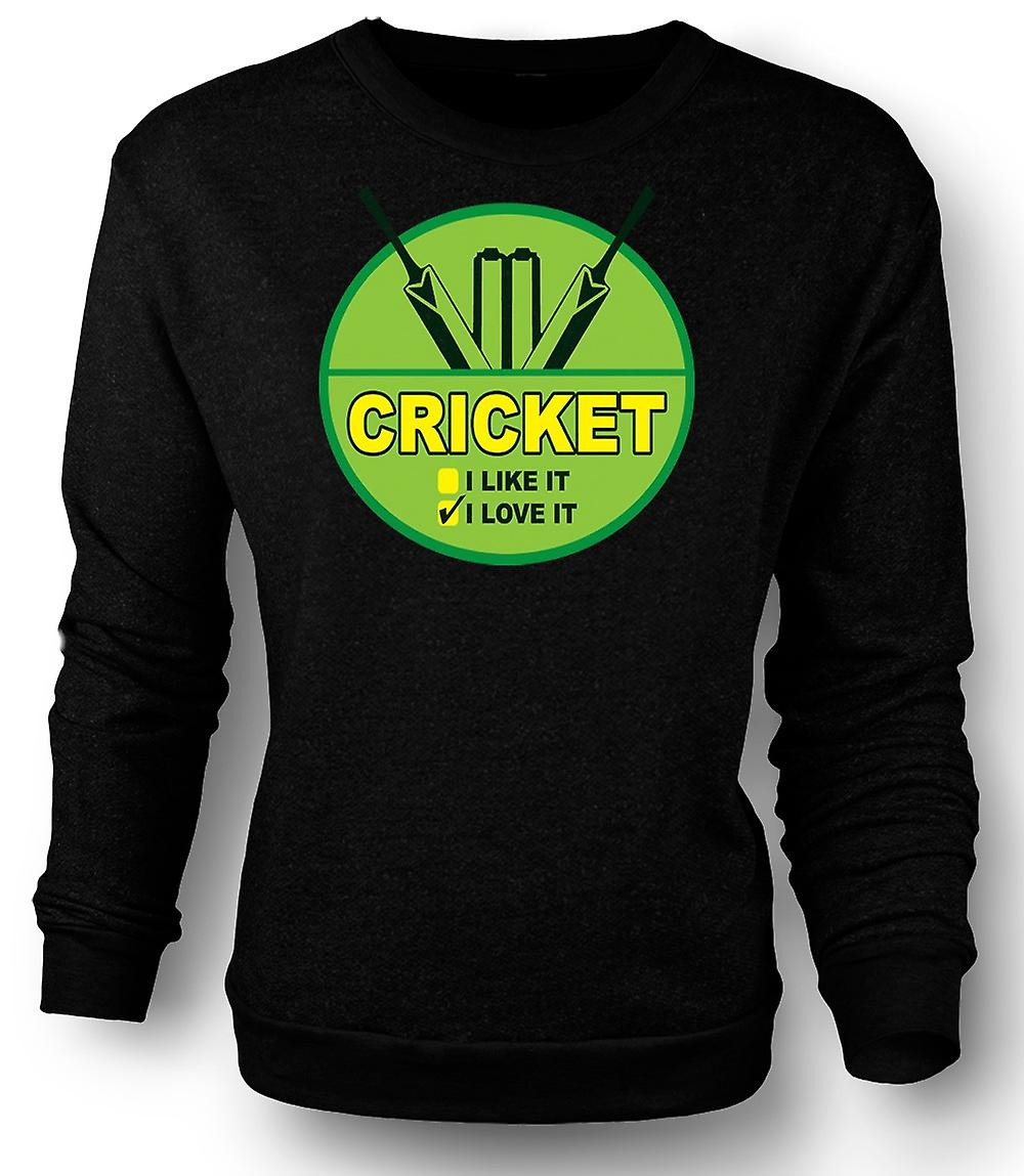 Mens felpa Cricket I Love It - divertente