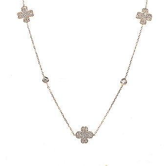 Latelita Sterling Silver Rose Gold Long Lucky Four Leaf Clover Necklace CZ 90cm