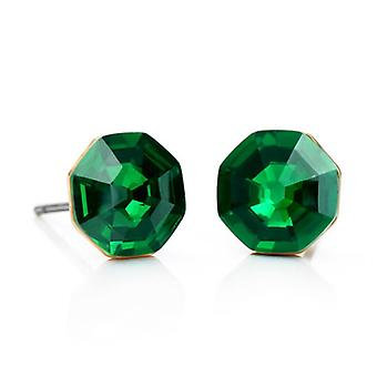 14K Gold Plated Emerald Green Crystal Earrings