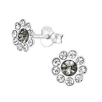 Flower - 925 Sterling Silver Crystal Ear Studs - W38582X