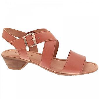 Gabor Jenya Low Heel Cross Over Tan Sandal