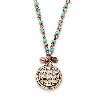 Fancy Lobster Closure Copper-tone Aqua Beads Peace Pendant 16inch With Ext Necklace - 10.1 Grams