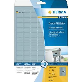 Herma 4220 Labels (A4) 25 x 10 mm Polyester film Silver 4725 pc(s) Permanent Nameplates Laser, Copier