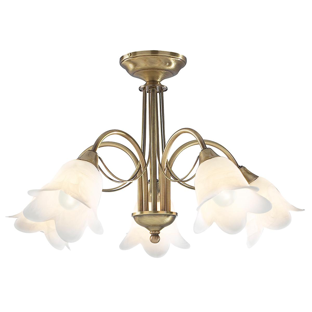 Dar DOU0575 Doublet Traditional Semi-Flush Ceiling 5 Light With Alabaster Glass