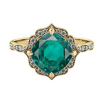 1,25 ctw Emerald Ring met diamanten 14K Yellow Gold Flower verlaat Halo