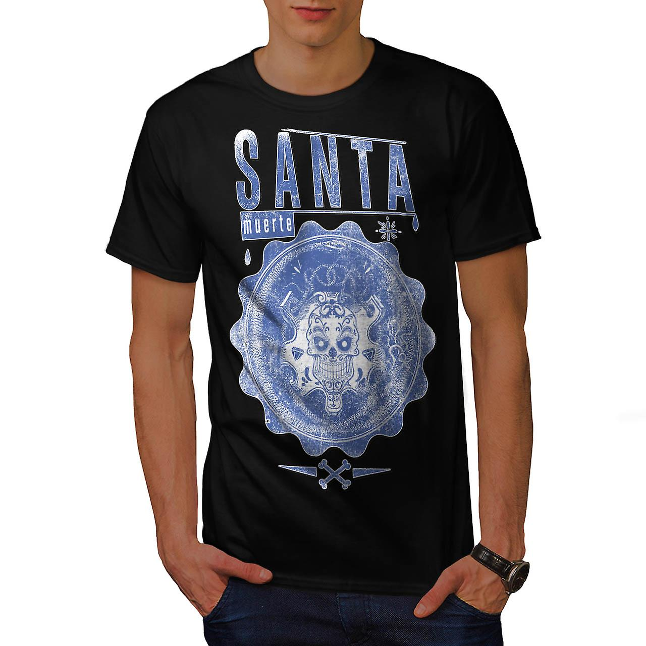 Santa Muerte Dead Skull Men Black T-shirt | Wellcoda