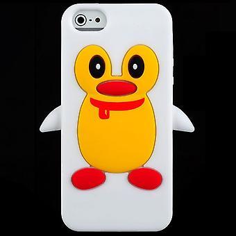 Pingüino de silicona cubierta-iPhone 5 (blanco)