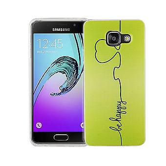 Cell phone case for Samsung Galaxy A3 2016 cover case protective bag motif slim silicone TPU be happy Green