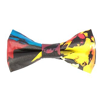 Pop art of ties fly tied bow tie faux leather multi coloured flowers