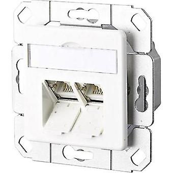 Network outlet Flush mount Insert with main panel CAT 6A 2 ports Metz Connect Pure white