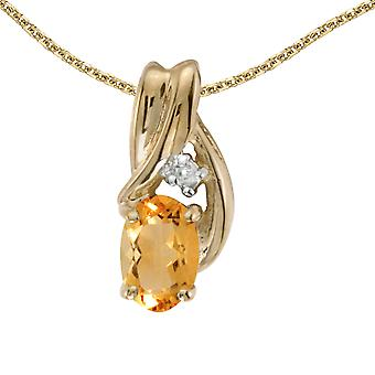 14k Yellow Gold Oval Citrine And Diamond Pendant with 18