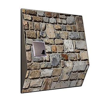 Front door bell with funk and quarry stone motif V2A stainless steel chime