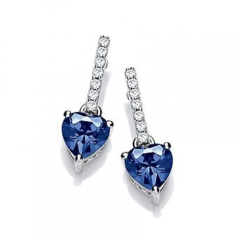Cavendish French Sparkly Sapphire CZ Heart Drop Earrings