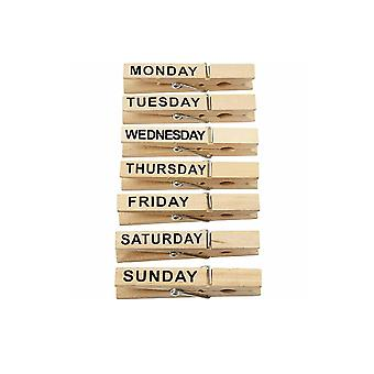 7 Days of the Week Wooden Clothes Pegs for Crafts & Noticeboards