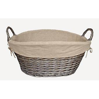 Antique Wash Lined Laundry Basket