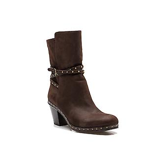 Miu Miu Women's Soft Leather Studded Adjustable Strap Boot Shoes Brown
