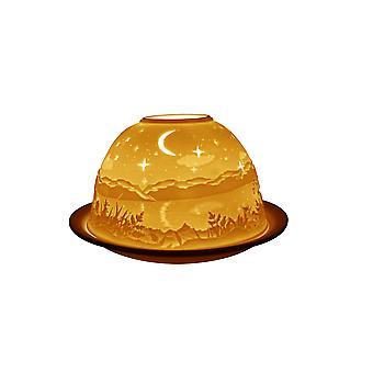 Lys-glød Starry Night Lithophane Dome fyrfad lysestage