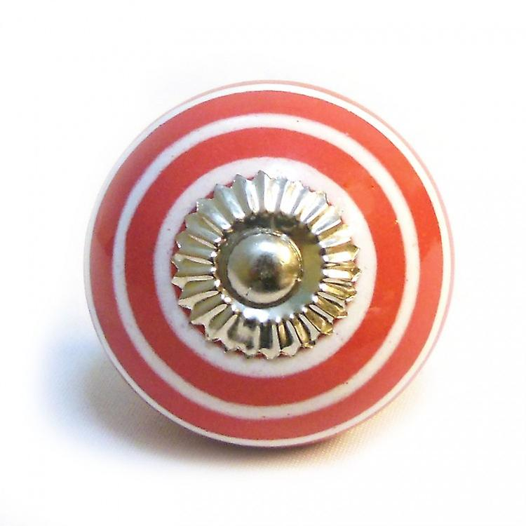 Red / White Stripes Ceramic Cupboard Knob