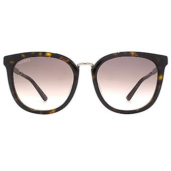 Gucci Peaked Square Sunglasses In Havana Ruthenium