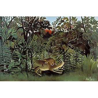 Henri Rousseau - Hungry Lion Poster Print Giclee