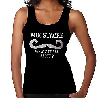 Moustache Whats It All About White Funny Women's Vest