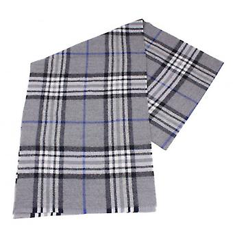 Fraas Checked Wool Scarf - Grey/White/Blue
