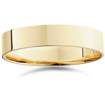 5mm Flat High Polished Wedding Band 14K Yellow Gold
