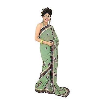 Bhagwanti 空想祭デザイナー ジョル ジェット サリー サリーを着用します。