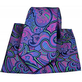 Posh and Dandy Paisley Tie and Pocket Square Set - Purple/Fuchsia