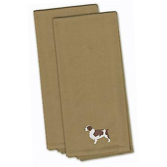 Welsh Springer Spaniel Tan Embroidered Kitchen Towel Set of 2