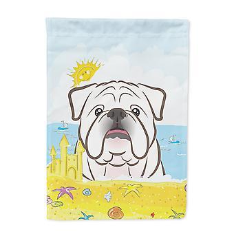 White Englisch Bulldog Sommer Beach Flag Leinwandgröße Haus