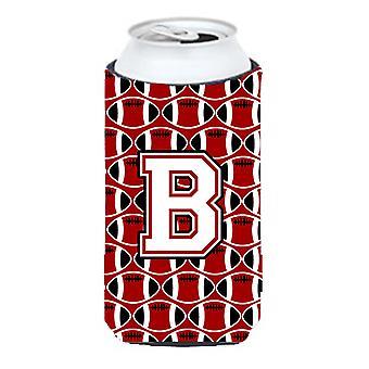 Letra B futebol cardeal e branco grandalhão bebidas isolador Hugger