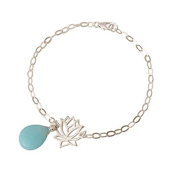 GEMSHINE ladies bracelet made of 925 Silver with YOGA Lotus Flower and turquoise drops. Gem of quality and color. Made in Madrid, Spain. In the elegant jewelry with gift box