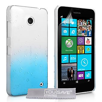 Yousave accessoires Nokia Lumia 630 regendruppel Hardcase - Blue-Clear
