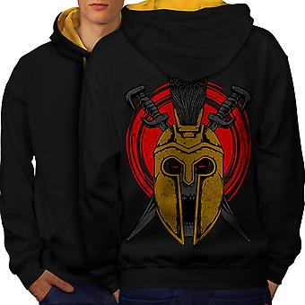 War Gladiator Death Skull Men Black (Gold Hood) Contrast Hoodie Back | Wellcoda