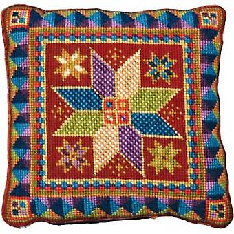 Medium Star flise pude Needlepoint lærred