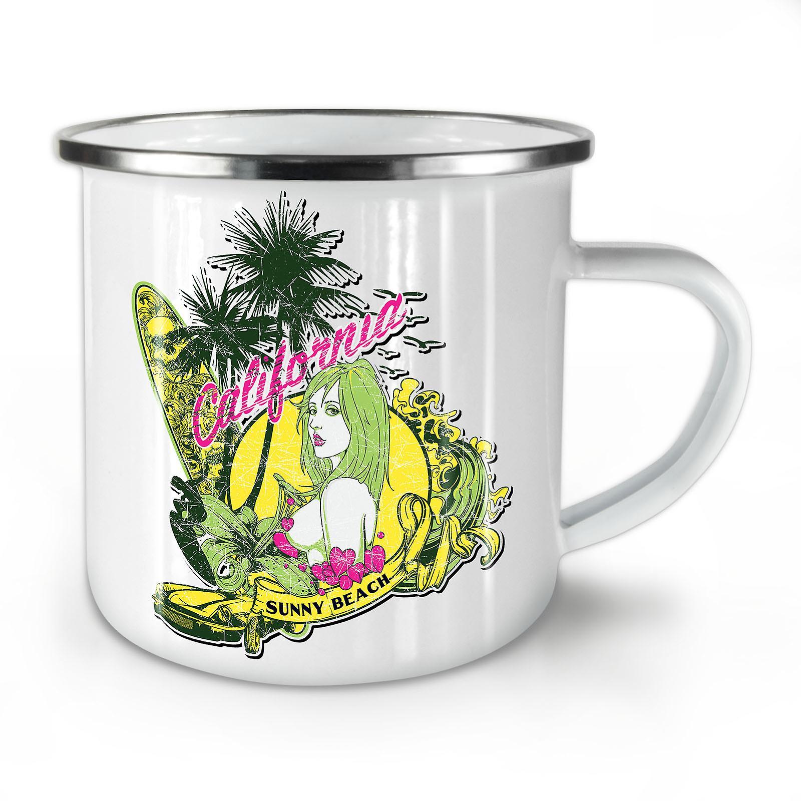 Nouvelles Mug10 Beach Café OzWellcoda California Émail Whitetea zVGqpMUS