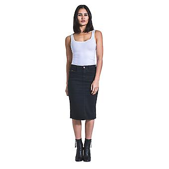 USKEES KAY Mid-length Denim Skirt - Black Denim Pencil Skirt with stretch