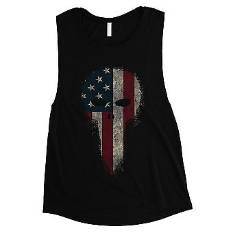 Vintage American Skull Women Black Muscle Tank Top For 4th of July
