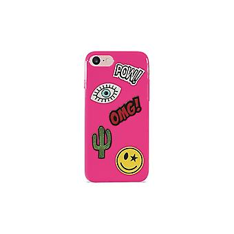 PURO iPhone 8/7, Patch Mania Cover, 5 Patches, pink
