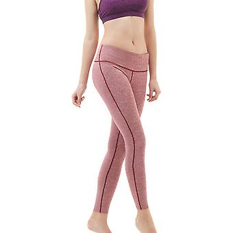 TSLA Tesla FYP41 Women es Mid-Waist Ultra-Stretch Yoga Pants-Space Dye Red