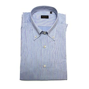 Valentino Men's Regular Fit Cotton Dress Shirt Baby Blue-Pinstripe Blue